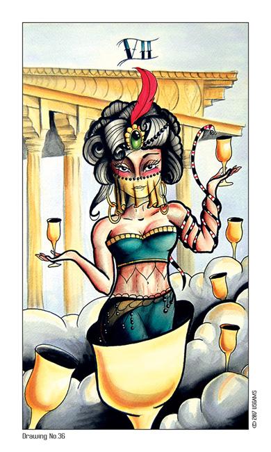 Tattoo Tarot Seven of Cups Card
