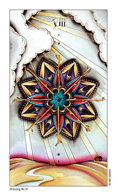 Tattoo Tarot Eight of Wands Card