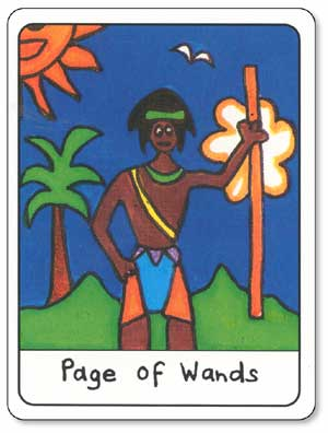 African Tarot Page of Wands Card