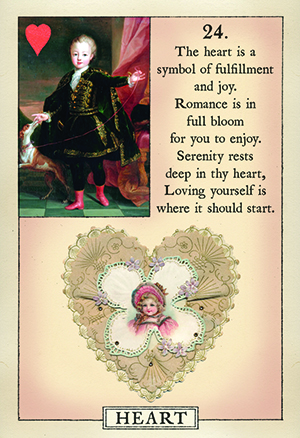 Blue Bird Lenormand Heart Card