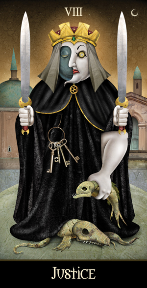 Deviant Moon Tarot Borderless Justice Card