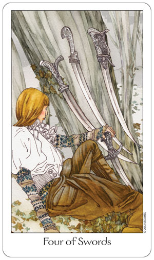 Dreaming Way Tarot 4 of Swords Card