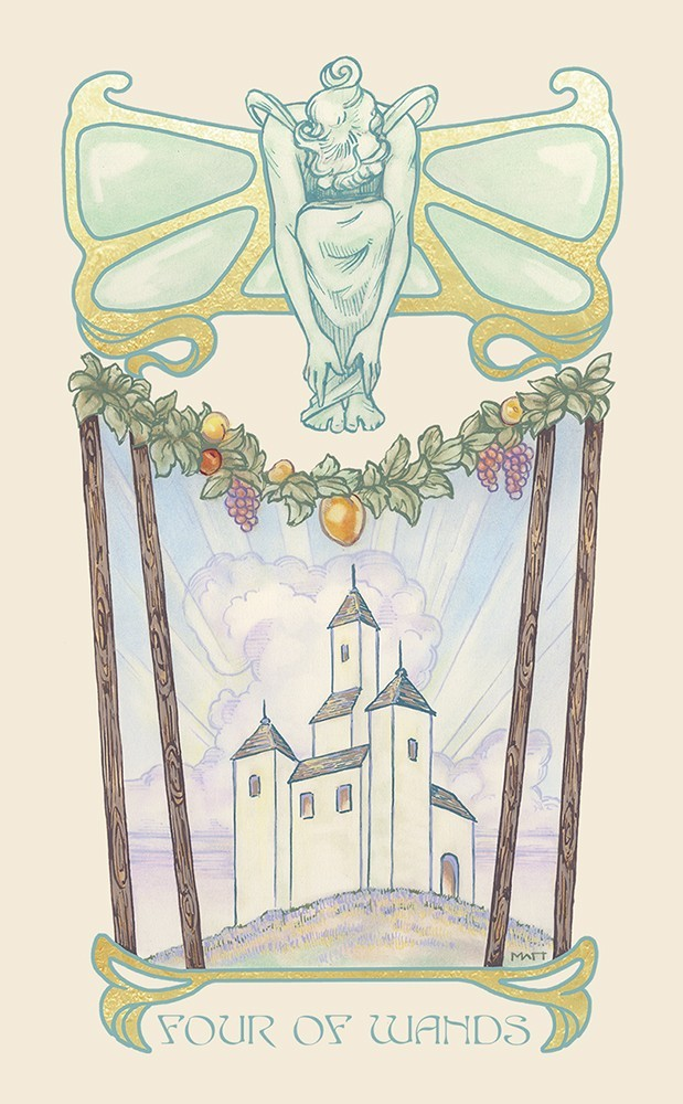 The Ethereal Visions Tarot 4 of Wands Card