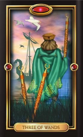 Gilded Tarot 3 of Wands