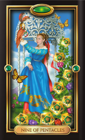 Gilded Tarot 9 of Pentacles
