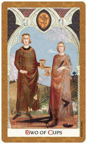 Golden Tarot 2 of Cups Card