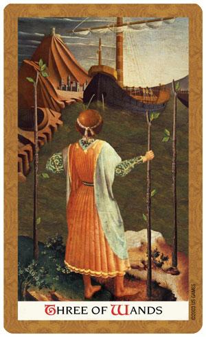 Golden Tarot Three of Wands Card