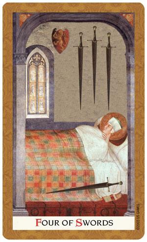Golden Tarot Four of Swords Card
