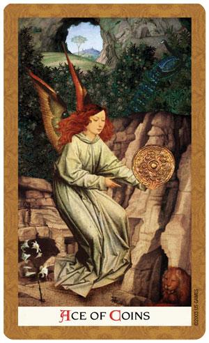 Golden Tarot Ace of Coins Card