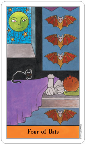 Halloween Tarot 4 of Bats (Swords)