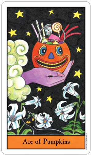 Halloween Tarot Ace of Pumpkins (Pentacles)