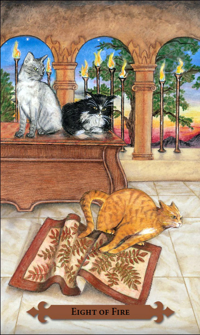 Mystical Cats Tarot Eight of Wands Card