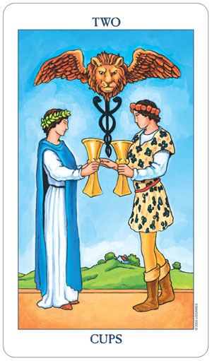 Radiant Rider Waite Tarot 2 of Cups
