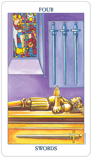 Radiant Rider Waite Tarot 4 of Swords