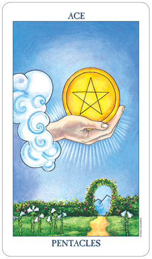 Radiant Rider Waite Tarot Ace of Pentacles