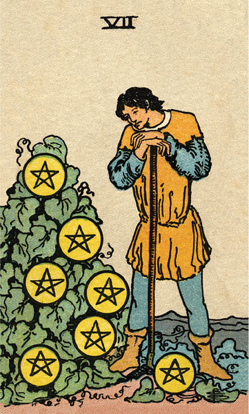 Borderless Rider Waite Tarot 7 of Pentacles
