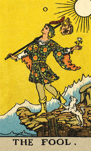 Borderless Rider Waite Tarot Fool Card