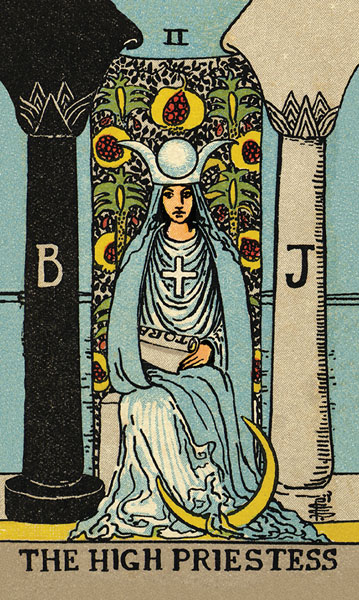 Borderless Rider Waite Tarot High Priestess Card