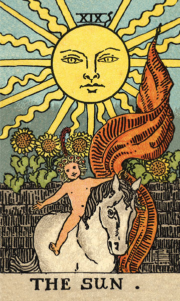 Borderless Rider Waite Tarot Sun Card