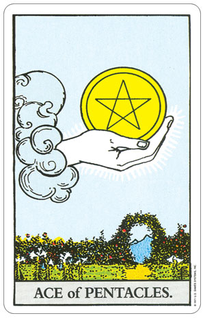 Rider Waite Pocket Tarot Ace of Pentacles Card