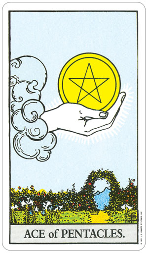 Rider Waite Ace of Pentacles Card