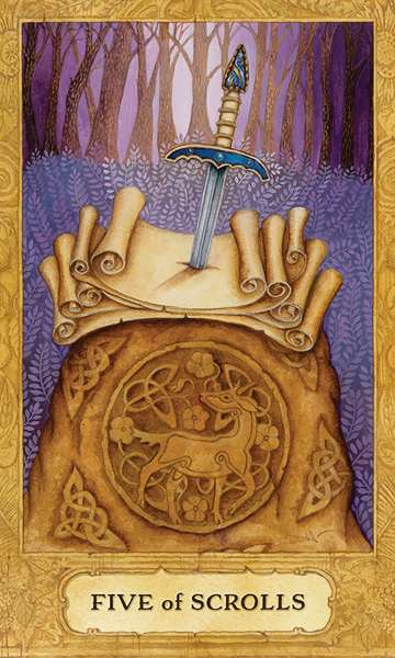Chrysalis Tarot Five of Scrolls Card