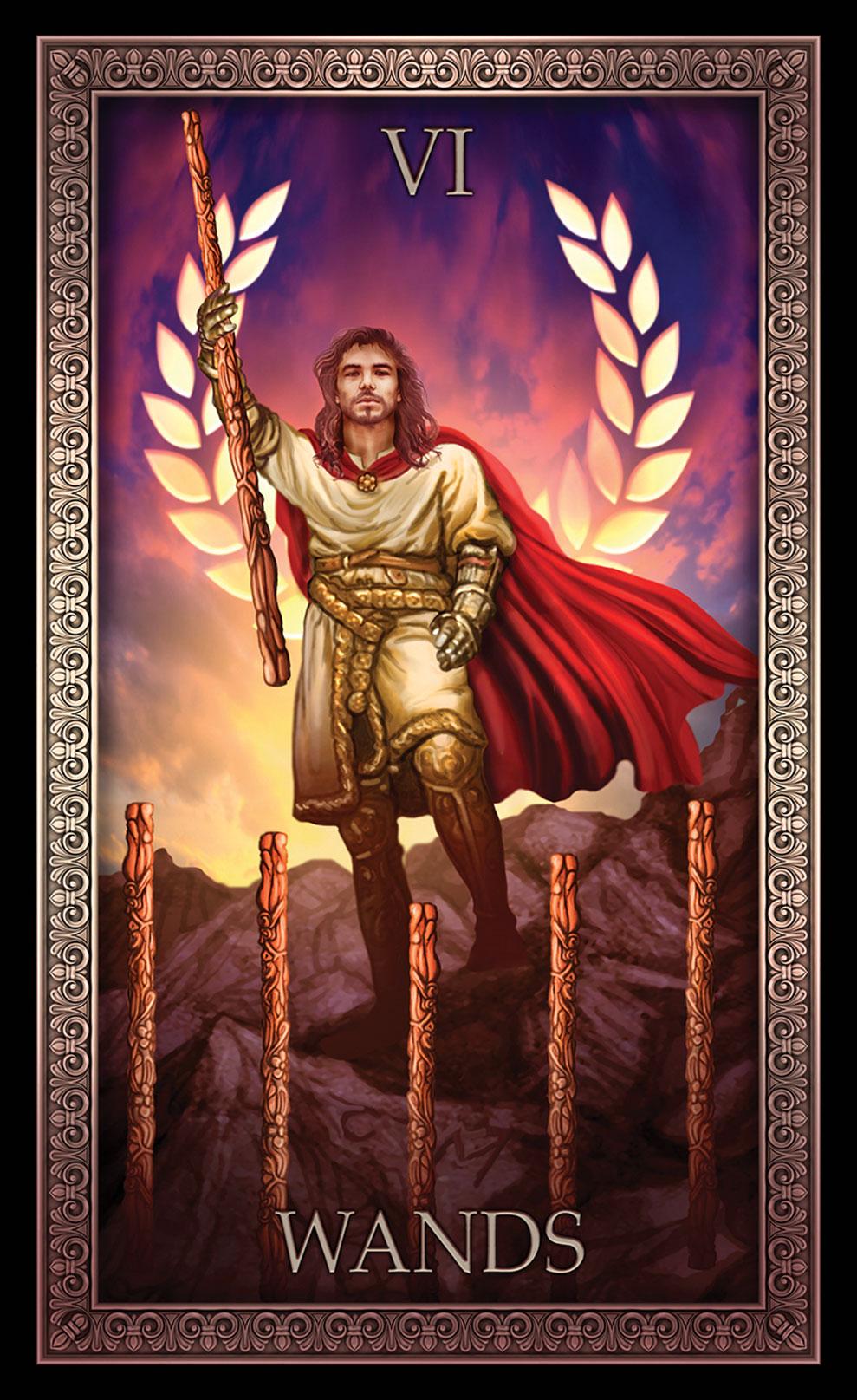 Tarot Grande Luxe 6 of Wands Card