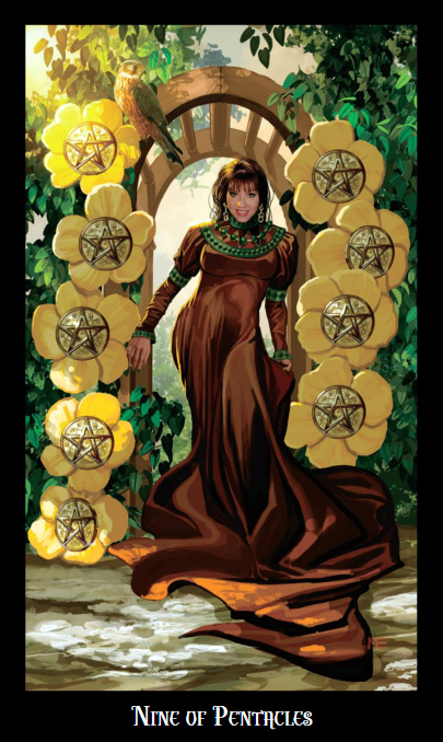 Witches Tarot Nine of Pentacles Card