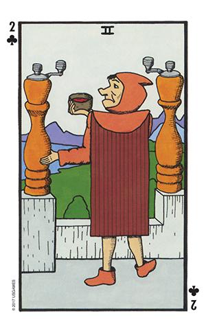 Wonderland Tarot Two of Wands Card