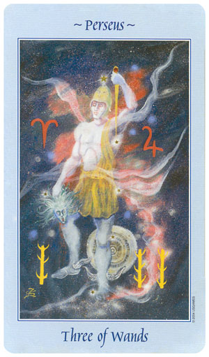 Celestial Tarot 3 of Wands Card