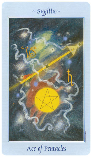 Celestial Tarot Ace of Pentacles Card