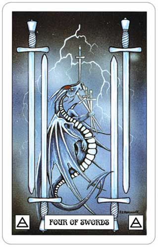 Dragon Tarot 4 of Swords