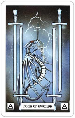 Dragon Tarot 4 of Swords