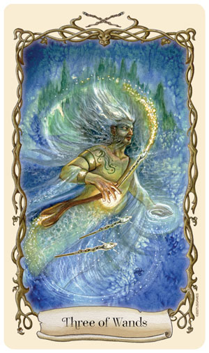 Fantastical Creatures Tarot Three of Wands Card