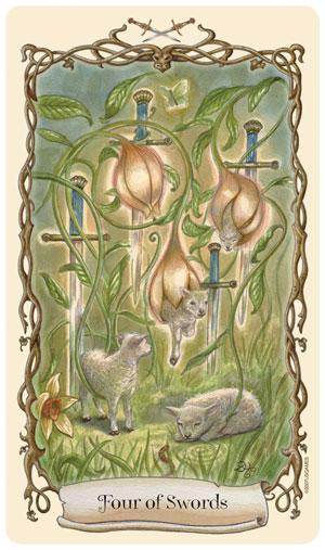 Fantastical Creatures Tarot Four of Swords Card