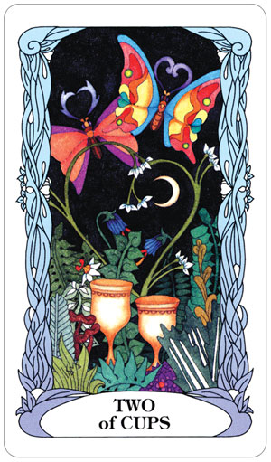 Tarot of a Moon Garden 2 of Cups Card