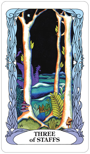 Tarot of a Moon Garden 3 of Staffs Card