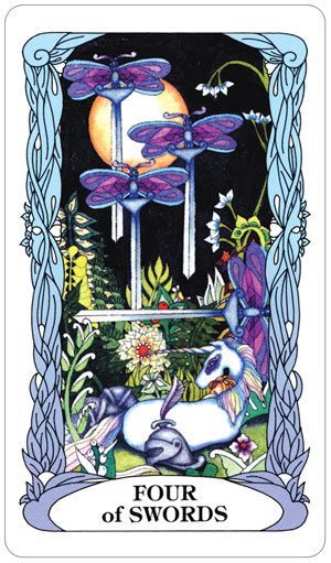 Tarot of a Moon Garden 4 of Swords