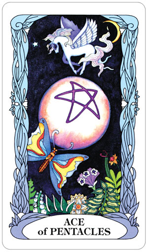 Tarot of a Moon Garden Ace of Pentacles Card