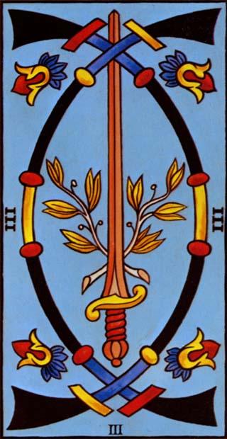 Marseilles Tarot 3 of Swords